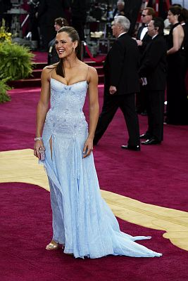 Jennifer Garner arrived at the 75th Academy Awards wearing this simple pale-blue chiffon and lace Versace gown, with diamond jewelry by Neil Lane. Photo by CRAIG SJODIN/ABC/Entertainment Pictures.