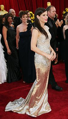 The Best Actress winner for her work in The Blind Side, Oscar winner Sandra Bullock chose to wear this beautiful gold Marchesa gown at the 82nd Annual Academy Awards. © FAME Pictures/KEYSTONE Press