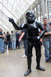 A black Stormtrooper poses for some pictures