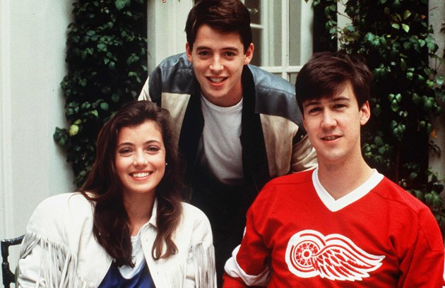 Alan Ruck (right) played 18-year-old Cameron in Ferris Bueller's Day Off when he was 29. In contrast, Matthew Broderick (middle) was 23 and Mia Sara was 18. Jennifer Gray (not pictured), who played Ferris's sister, was 25.