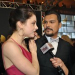 Adam Beach and his girlfriend on the red carpet