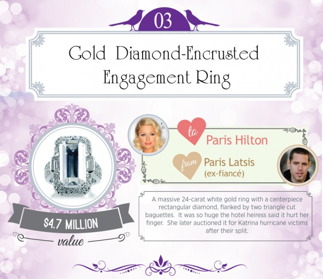 A massive 24-carat white gold ring with a centerpiece rectangular diamond, flanked by two triangle cut baguettes. It was so huge the hotel heiress said it hurt her finger. She later auctioned it for Katrina hurricane victims after their split.
