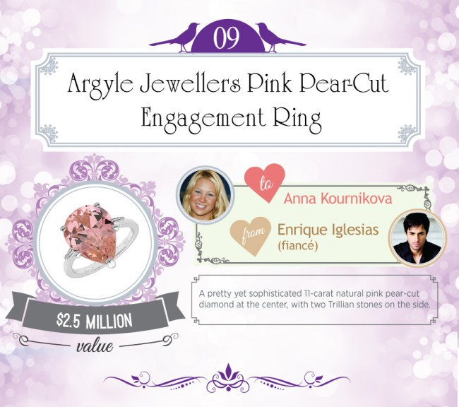 A pretty yet sophisticated 11-carat natural pink pear-cut diamond at the center, with two Trillian stones on the side.