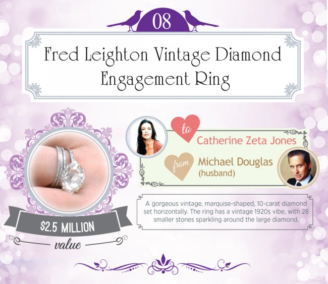 A gorgeous vintage, marquise-shaped, 10-carat diamond set horizontally. The ring has a vintage 1920s vibe, with 28 smaller stones sparkling around the large diamond.