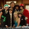 Emily Osment, Ray Romano, Corbin Bleu, Mitchel Musso BOTTOM: Joe Romano, Miley Cyrus, Moises Arias on the set of Hannah Montana