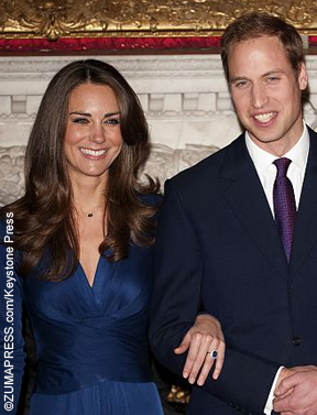 Kate Middleton and Prince William with engagement ring
