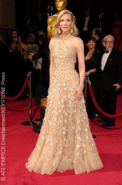 Cate Blanchett wore a shimmering nude gown by Giorgio Armani, making her the clear trend winner of the night.