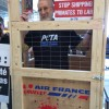 James Cromwell locked in crate to protest Air France