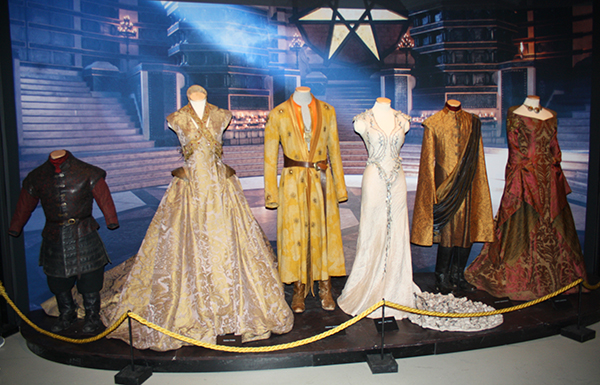 On display are all the outfits from both weddings. Sansa ...