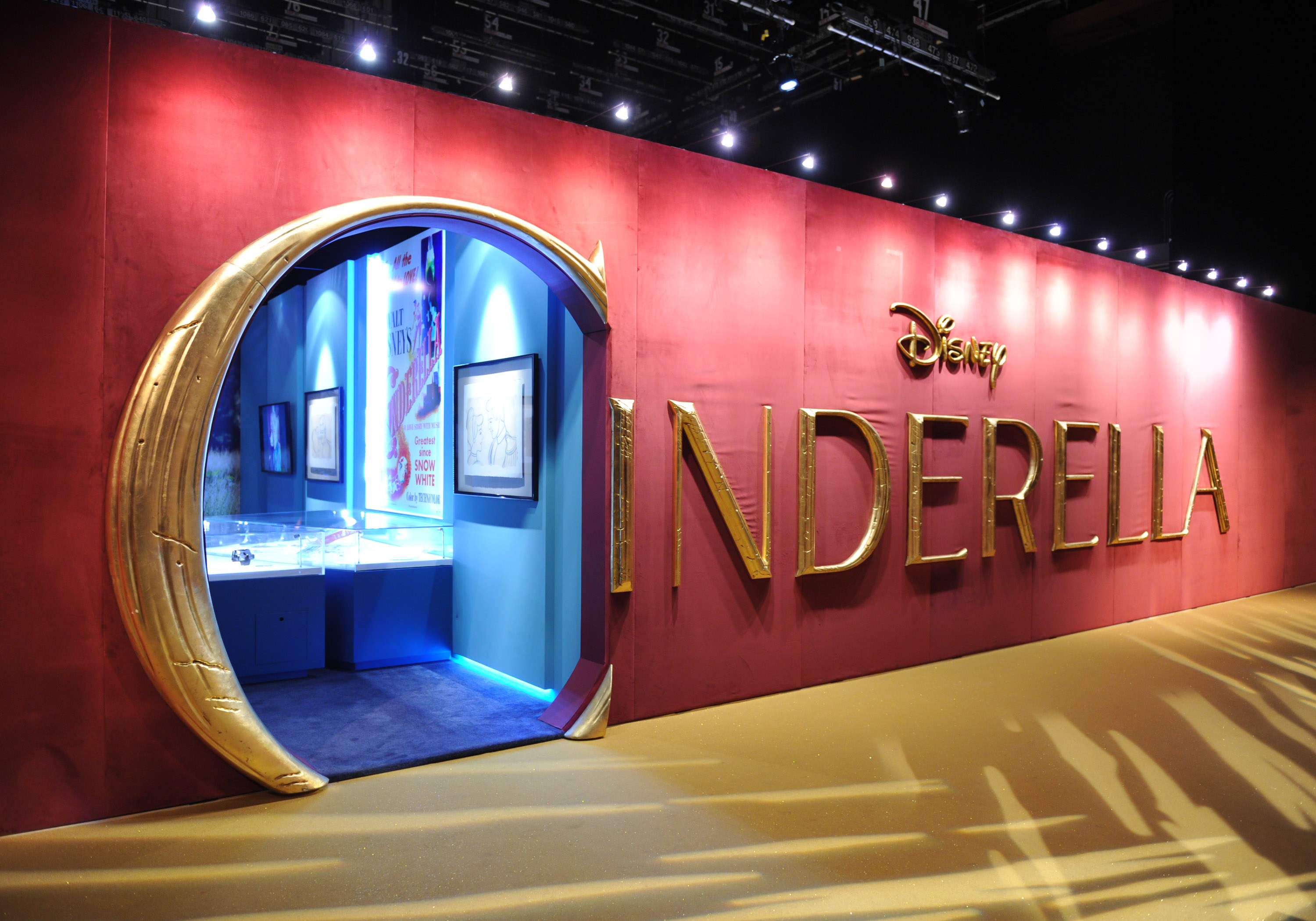 At the entrance, some of the sketches, posters and artwork from the original 1950 animated feature are visible just inside the door.