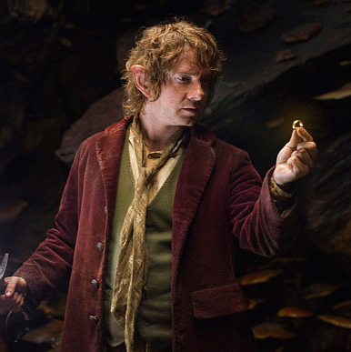Martin Freeman with the One Ring in The Hobbit series