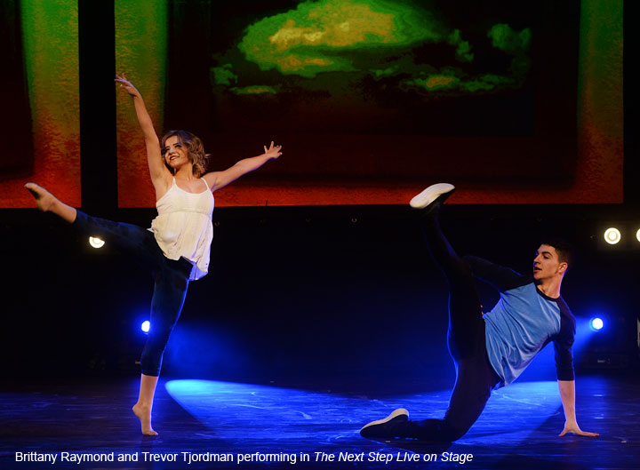 Trevor Tordjman and Brittany Raymond perform in The Next Step Live on Stage