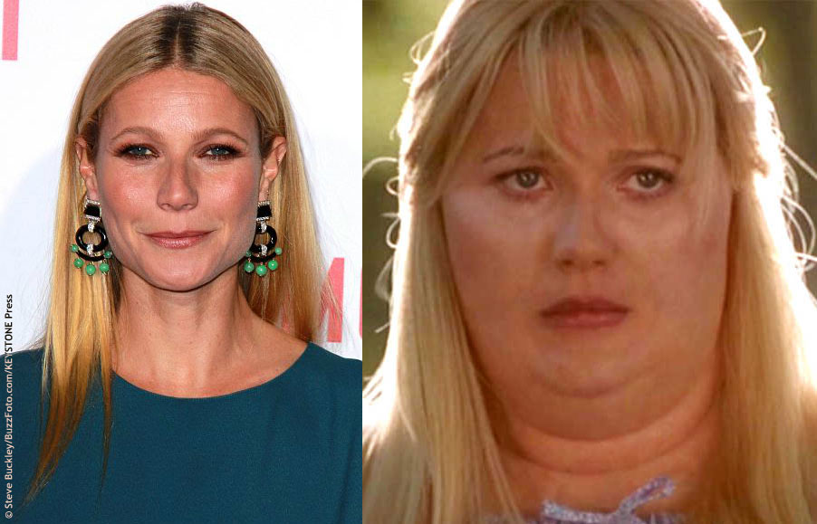 For her role in Shallow Hal (2001), Gwyneth Paltrow opted for a fat suit. That made the overall transformation a little easier, but the make-up process took nearly four hours. It was time well-spent though – Gwyneth looks like a totally different person.