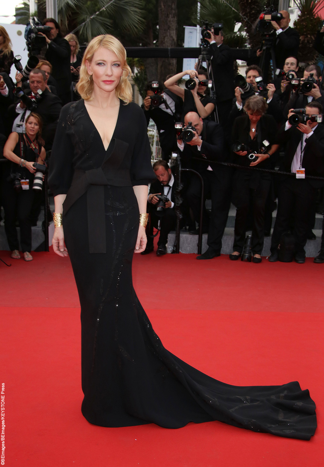 Oscar-winning actress Cate Blanchett looked regal in a black gown at the premiere of Sicario on May 19. The actress looked elegant with her bright blonde hair loosely curled and a soft pink lipstick to top off the look.