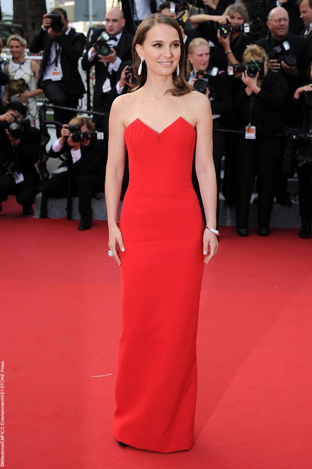 Oscar-winner Natalie Portman was classic and elegant at the opening ceremony. Donning a strapless red gown, classic drop earrings and sleek hair, the actress looked incredible.