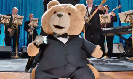 Ted performs a musical number at his wedding