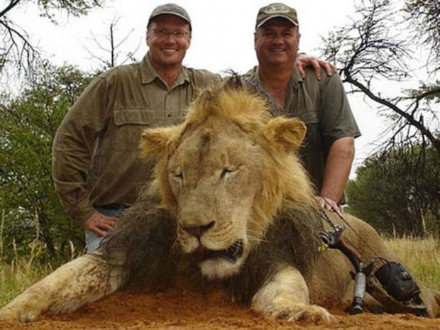 Walter James Palmer (left) poses with another dead lion in undated Facebook photo