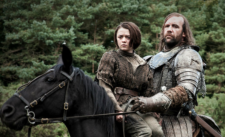 Arya and The Hound in Game of Thrones