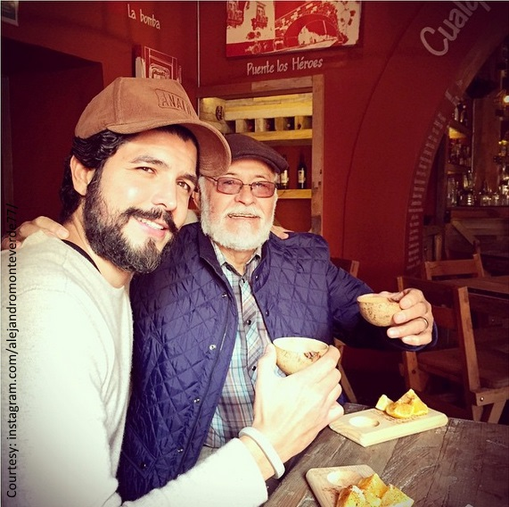 Alejandro Gómez Monteverde with his father