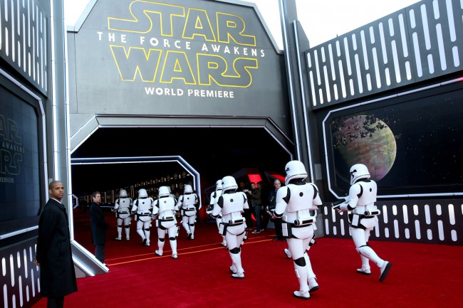 An army of Stormtroopers made their way into the theater in Hollywood, California prior to the world premiere of Star Wars: The Force Awakens.
