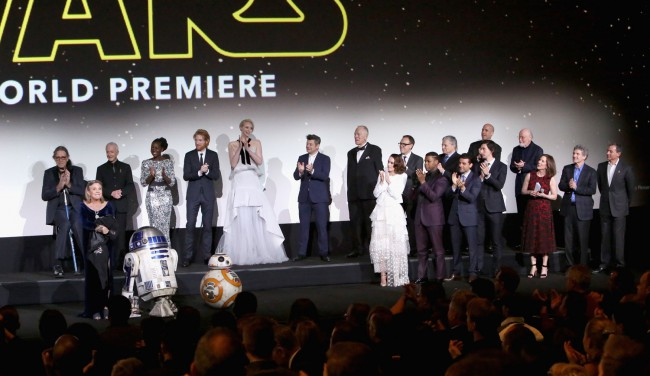 The cast and crew of Star Wars: The Force Awakens met the audience at the El Capitan and TCL Theatres in Hollywood, including Carrie Fisher, Anthony Daniels, Lupita N'yongo, Domhnall Gleeson, Andy Serkis, Daisy Ridley, John Boyega and Adam Driver.