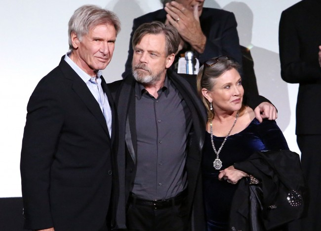 The stars of the original Star Wars movies – Harrison Ford (Han Solo), Mark Hamill (Luke Skywalker) and Carrie Fisher (Princess Leia) reunited for the world premiere. It was great to see these three back together again!