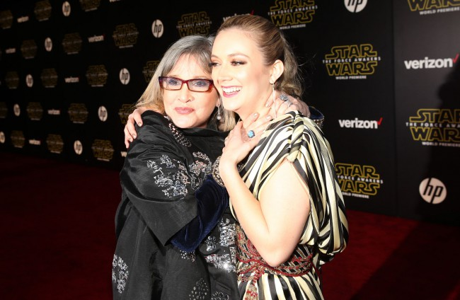 Carrie Fisher was joined on the red carpet by her daughter Billie Lourd, who plays a small role in Star Wars: The Force Awakens.