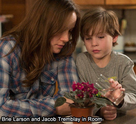 Brie Larson and Jacob Tremblay in Room - movie still