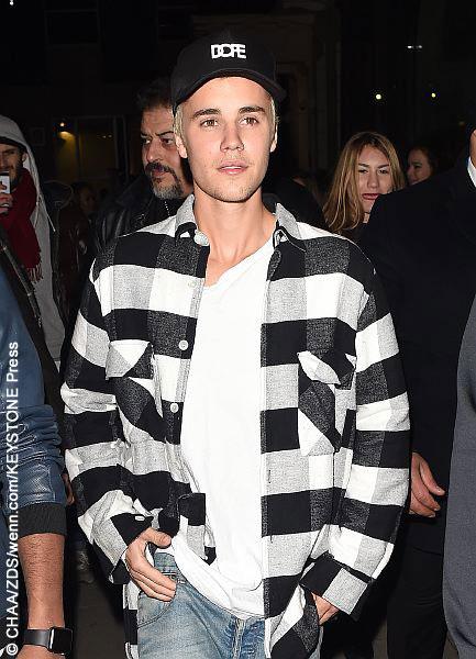 Justin Bieber at Tape nightclub in London in Feb 2016