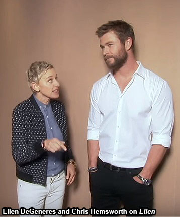 Ellen DeGeneres and Chris Hemsworth on Ellen