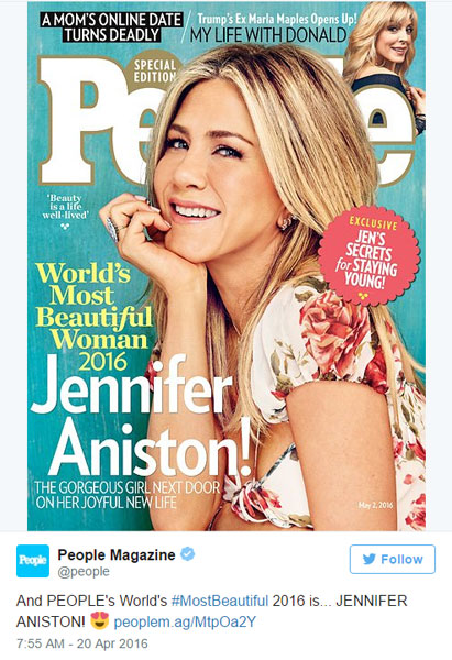 Jennifer Aniston on the cover of People magazine special edition