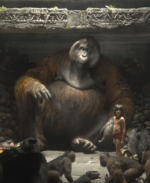 Mowgli with King Louie in The Jungle Book