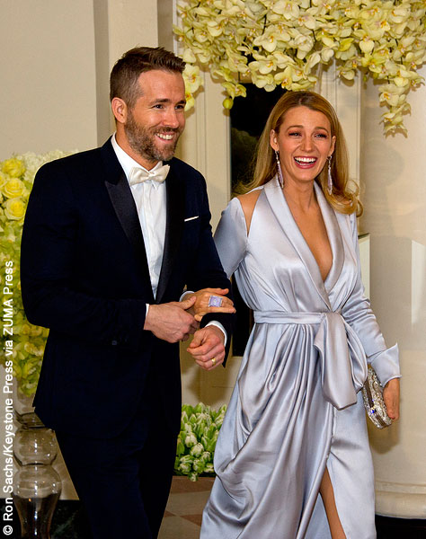 Ryan Reynolds and Blake Lively at State Dinner in honor of Justin Trudeau at the White House