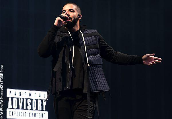 Drake on stage.