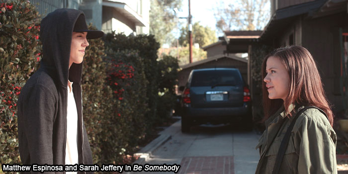 Matthew Espinosa and co-star Sarah Jeffrey in Be Somebody