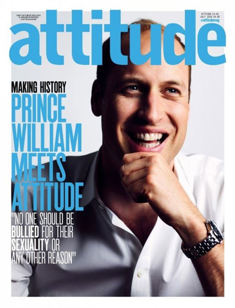 Prince William on the cover of Attitude magazine