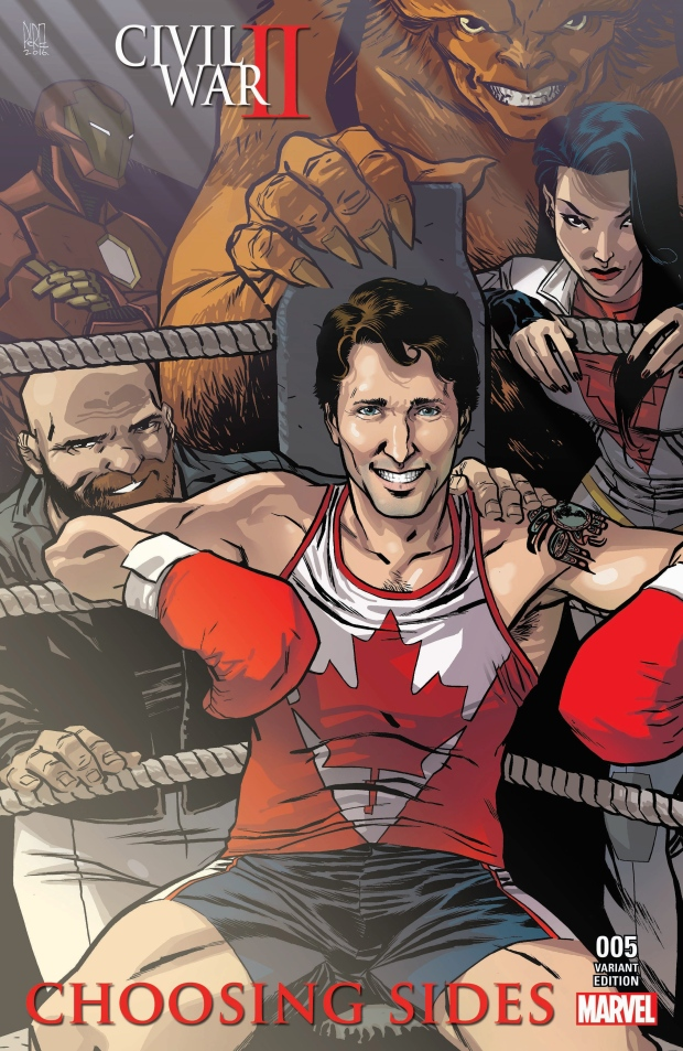 Justin Trudeau on the cover of Civil War II