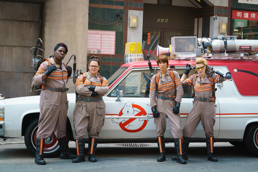 Leslie Jones, Melissa McCarthy, Kristen Wiig and Kate McKinnon in Ghostbusters