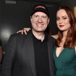 Marvel Studios president and producer Kevin Feige (L) and actress Brie Larson announced as Captain Marvel/Carol Danvers