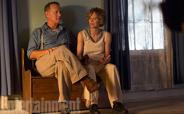 Meg Ryan and Tom Hanks on set of Ithaca
