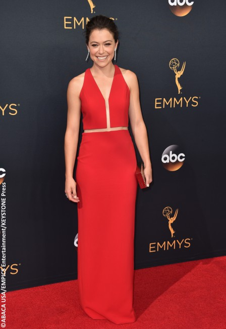Sometimes less is more, and Emmy winner Tatiana Maslany proved this in stunning fashion in a crimson red Alexander Wang gown. While it is a very minimalist look, strategically placed sheer panels, a beachy updo, and Forever Mark diamonds made the Canadian actress' look one of the edgiest of the night.