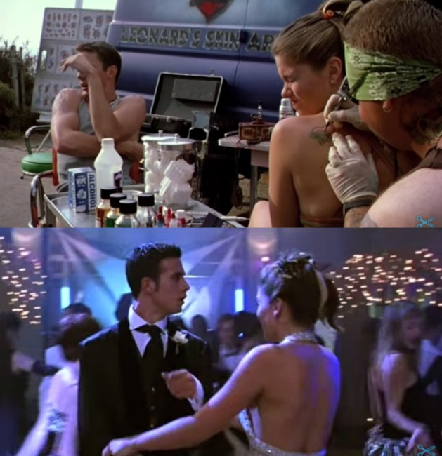 During a scene in the 1999 teen-romantic comedy, She's All That, Taylor (played by Jodi Lyn O'Keefe) gets a small heart tattoo on her shoulder. Roughly 30 minutes later during the big prom scene? No tattoo. Whoops!