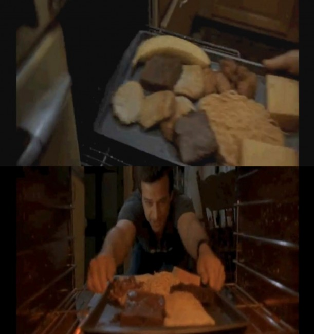 In 2006's Grandma's Boy there's a scene where a tray of food is placed into the oven…. see the banana? It magically disappears when the food is later removed from the oven.