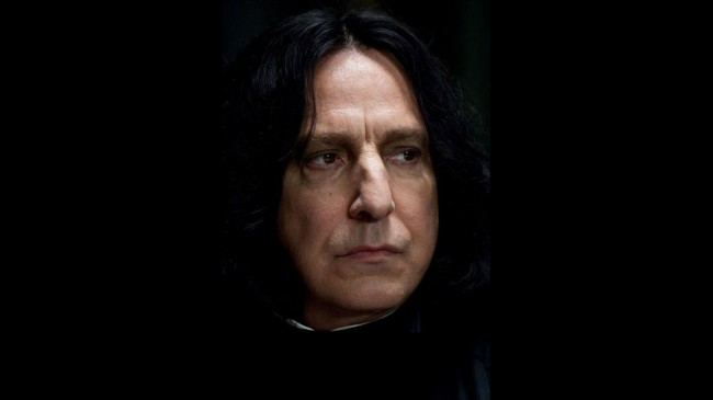 "Defense Against the Dark Arts professor, Professor Snape – played by the incomparable late Alan Rickman — wore black contacts throughout the film in order to convey a ""darkness"" he wanted to bring to the character."
