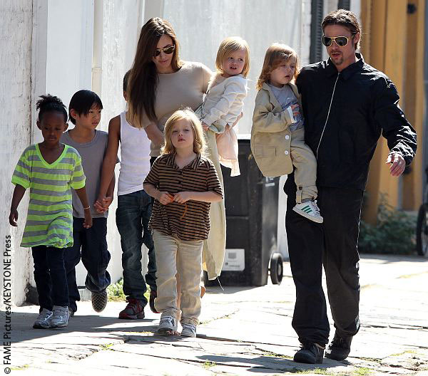 Angelina Jolie, Brad Pitt and their children