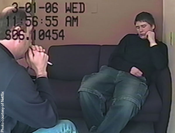 Still from police tape of Brendan Dassey being questioned