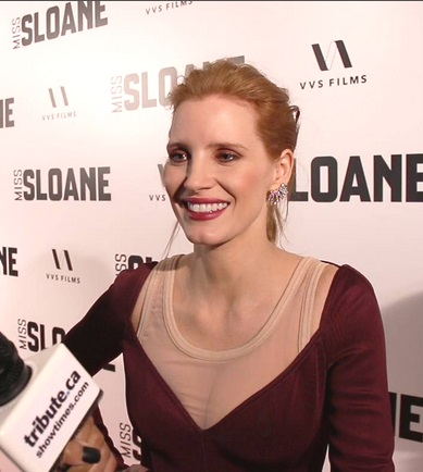 Jessica Chastain at the Miss Sloane red carpet premiere