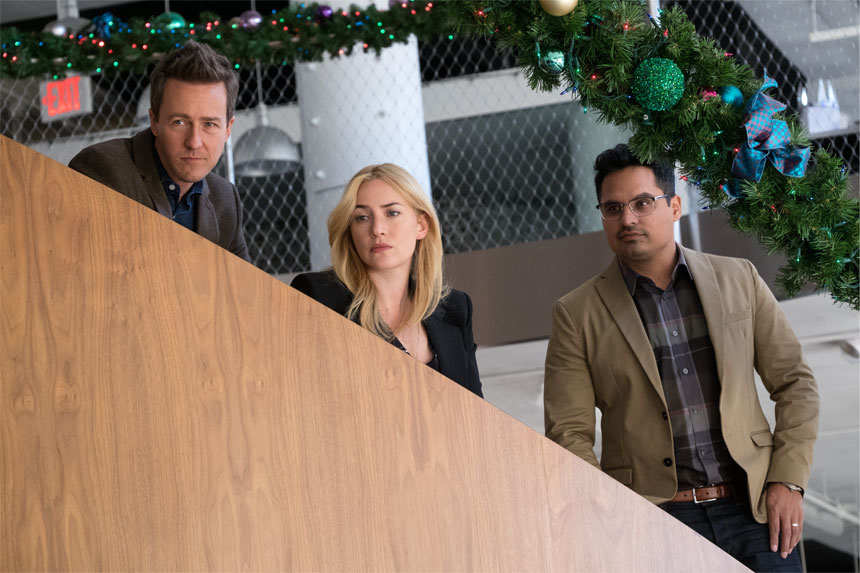 Ed Norton, Kate Winslet and Michael Pena in Collateral Beauty