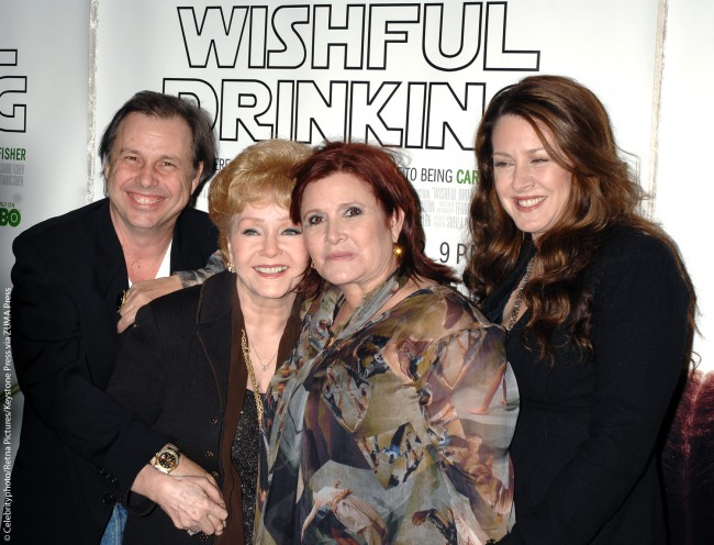 Carrie's autobiographical book Wishful Drinking was based on her one-woman stage show of the same name. Here she's pictured with Todd, Debbie and half-sister Joely Fisher at the premiere of the HBO feature-length documentary of the stage play Wishful Drinking at the Pickford Center for Motion Picture Study on December 7, 2010.