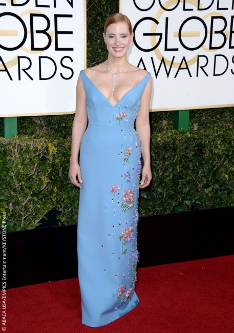 Prada tends to be a hit or miss design house, and in Jessica Chastain's case at the Golden Globes, it was a pretty big miss. The Easter-like blue on top of the oddly placed embellishments only served to age the Oscar nominee and were a far cry from her usual sexy and sophisticated style.